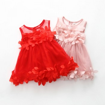 Beautiful Appliqued Flower Tulle Dress for Baby and Toddler Girl
