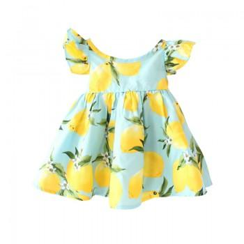 Cute Lemon Print Flutter Sleeves Dress for Baby Girl