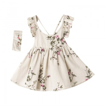 2-piece Sweet Floral Backless Dress and Headband for Baby Girl