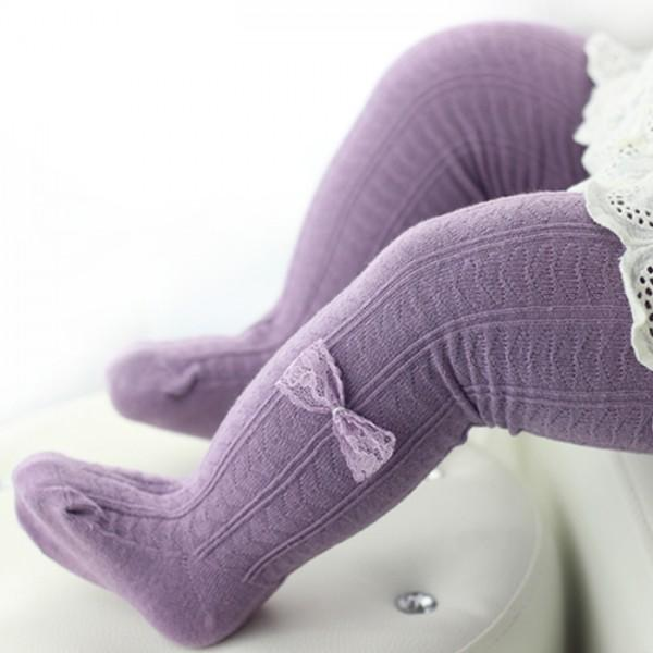 Comfy Bow Decor Tights for Baby Girls