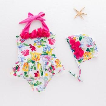 Pretty Floral Flower Decor Swim Halter Onepiece and Hat Set for Baby and Toddler Girl