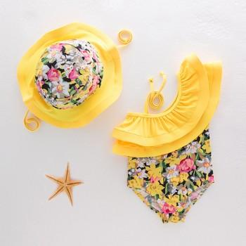 2-piece Off Shoulder Ruffled Floral Swimsuit and Hat Set for Baby Girl