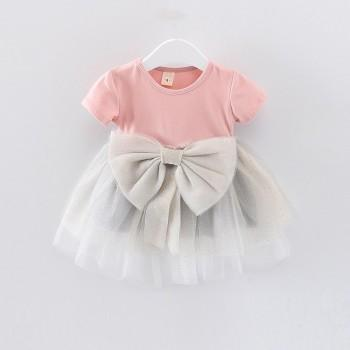 Stylish Bowknot Decor Short Sleeve Tulle Dress for Baby Girl