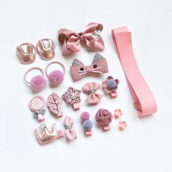 18-pack Beautiful Bow Hairclips Hairband Set for Girls