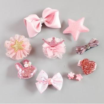 10-pack Pretty Bow Crown Star Hairclips for Girls