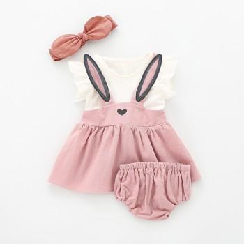 3-piece Lovely Rabbit Ear Decor Ruffled Cap-sleeve Dress, shorts and Headband Set for Baby and Toddler Girl
