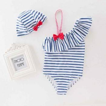 Trendy Striped Star Print Ruffle Decor One Shoulder Swimsuit and Hat Set for Baby Girl
