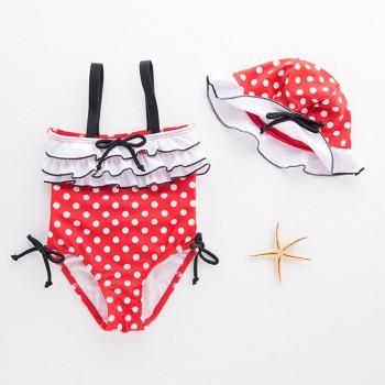 Stylish Polka Dot Ruffle Decor Swimsuit and Hat Set for Baby Girl