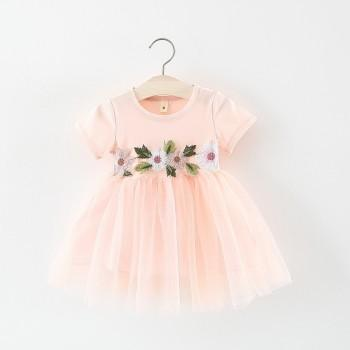 Pretty Solid Floral Decor Short Sleeves Tulle Dress for Toddler Girl