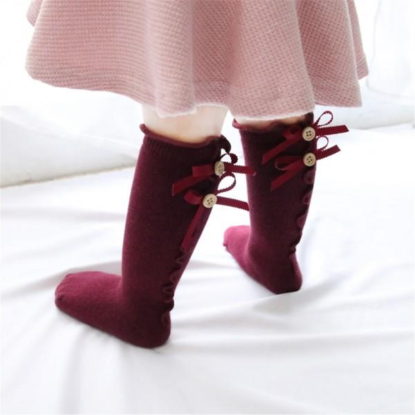 Pretty Bowknot Decor Ruffled Stockings for Toddler Girl