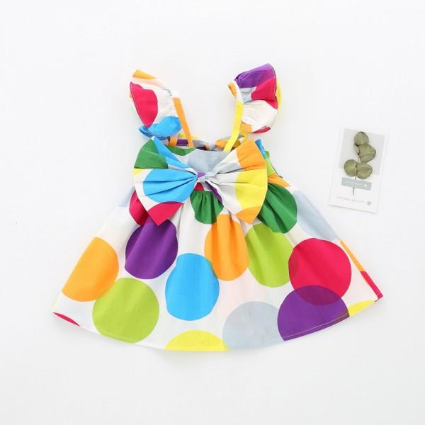 Colorful Polka Dot Ruffled Short-sleeve Dress for Baby Girl