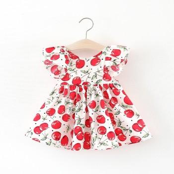 Baby Girl's Ruffled Sleeves Cherry Pattern Dress