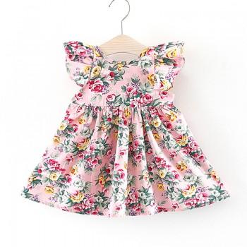 Pretty Floral Flounce-sleeve Dress for Baby Girl