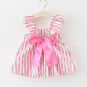 Baby Girl's Cute Watermelon Striped Summer Dress
