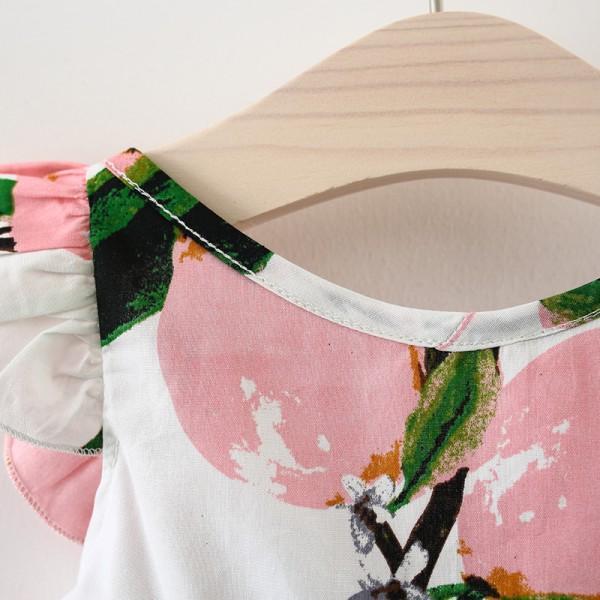 Lovely Fruit Print Capped Sleeve Dress for Baby and Toddler Girl
