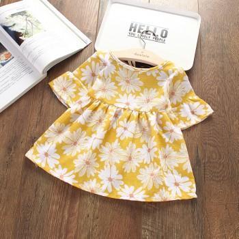 Pretty Flare-sleeve Daisy Dress for Baby Girl