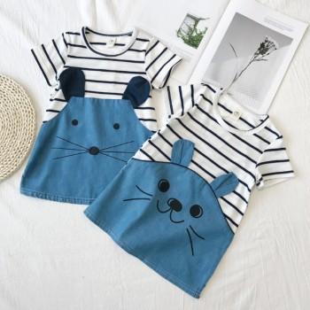 Toddler Girl's Cute Rabbit Mouse Design Striped Short-sleeve Dress