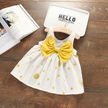 Cute Big Bow Polka Dots Sleeveless Dress for Baby Girl