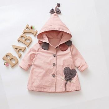 Trendy Bow Decor Hooded Jacket for Baby Girl and Toddler Girl