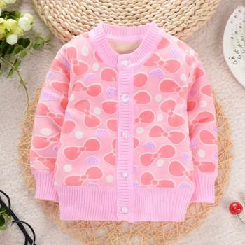 Beautiful Cartoon Print Knitted Coat for Baby Girl