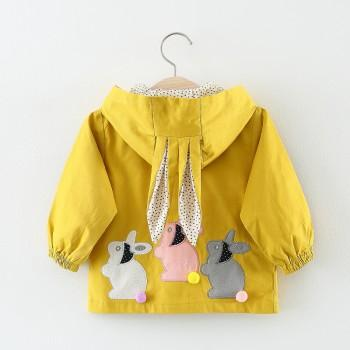 Adorable Rabbit Applique Hooded Coat for Baby Girl