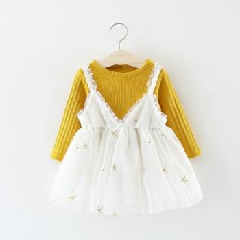 2-piece Pretty Long-sleeve Tee and Embroider Star Strap Lace Dress Set for Baby and Toddler Girl