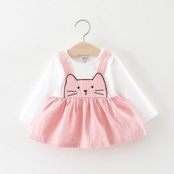 Cute Faux-two Cat Embroider Long-sleeve Dress for Baby Girl