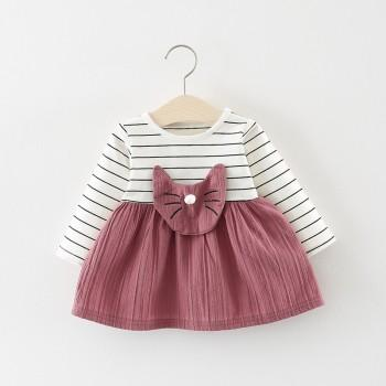 Lovely Striped Cat Embroider Long-sleeve Dress for Baby Girl