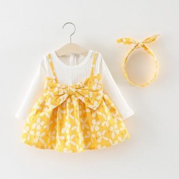 Lovely Faux-two Flower Print Long-sleeve Dress and Headband for Baby and Toddler Girl