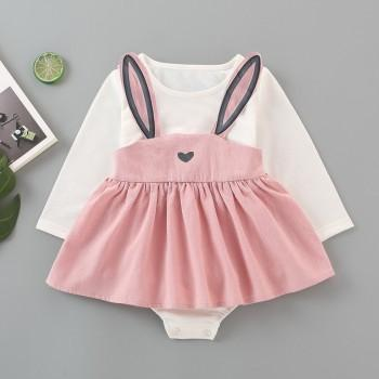 2-piece Cute Solid Long-sleeve Romper and Rabbit Design Suspender Skirt Set for Baby Girl