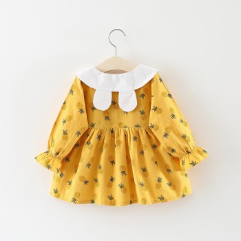 Baby Girl's Cute Pineapple Patterned Doll Collar Dress