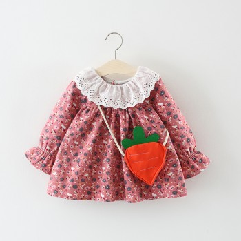Lovely Floral Lace Collar Long-sleeve Dress with Strawberry Bag for Baby and Toddler Girl
