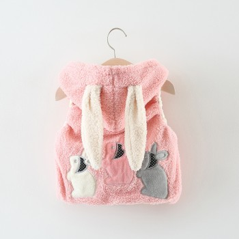 Warm Rabbit Appliqued Hooded Vest for Baby Girl