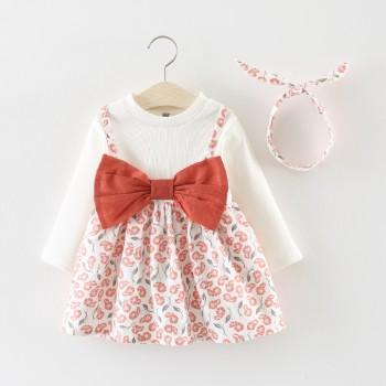Pretty Floral Bow Decor Long-sleeve Dress with Headband for Baby and Toddler Girl