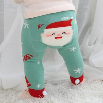 Cutie Snowflake Print Christmas Santa Pantyhose in Green and Socks Set for Baby Girl