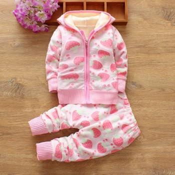 Comfy Strawberry Patterned Long-sleeve Hooded Coat and Pants Set for Baby Girl