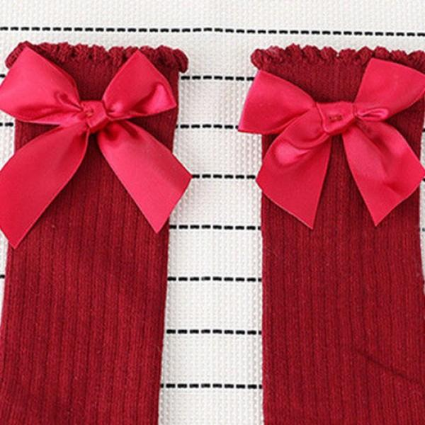 Sweet Solid Bow Decor Socks for Baby and Toddler Girl