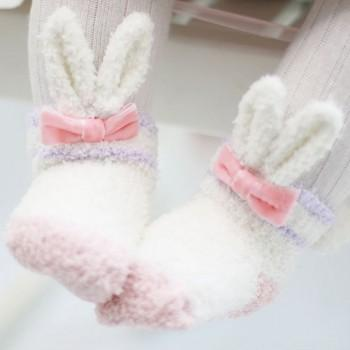Lovely Rabbit Shaped Coral Fleece Shoes Socks for Baby