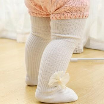 Casual Bow Decor Ribbed Tights for Baby and Toddler Girl
