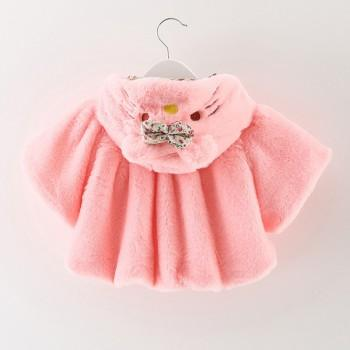 Cute Cat Design Bowknot Decor Hooded Plush Coat for Baby Girl