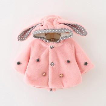 Pretty Flower Applique Decor Long-sleeve Hooded Coat for Baby Girl