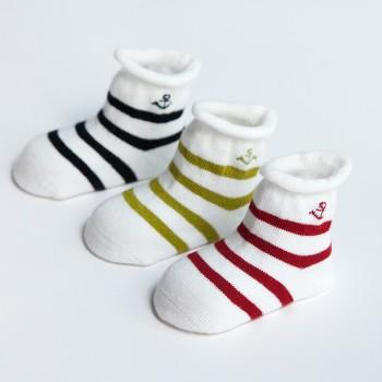 3-pack Stylish Striped Anchor Pattern Socks for Baby and Toddler