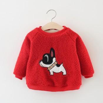 Adorable Bulldog Appliqued Long-sleeve Pullover for Baby Girl
