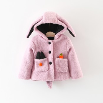 Adorable Rabbit Design Long-sleeve Hooded Coat for Baby