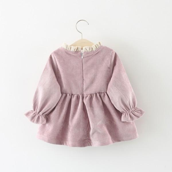 Lovely Solid Big Bow Decor Fleece-lining Long-sleeve Dress