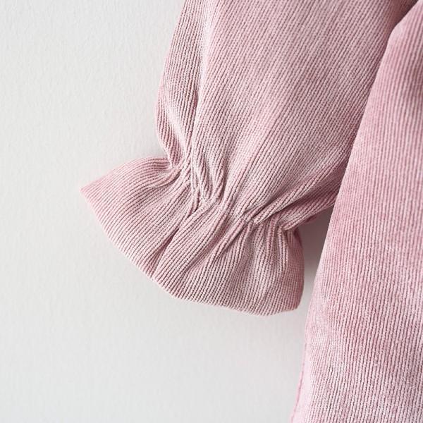 Lovely Solid Big Bow Decor Fleece-lining Long-sleeve Dress