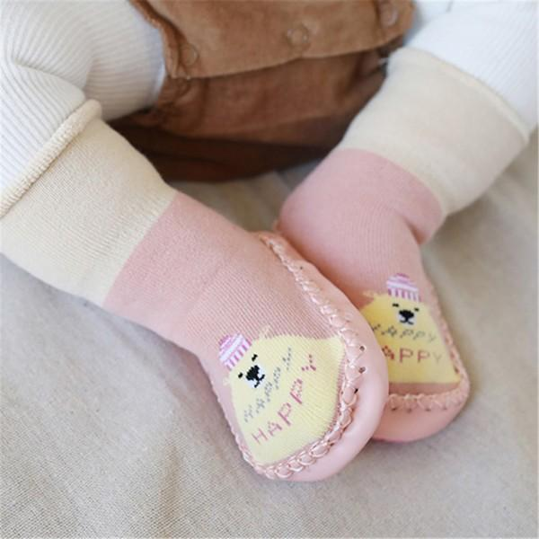 Cute Animal Pattern Color Blocked Floor Socks