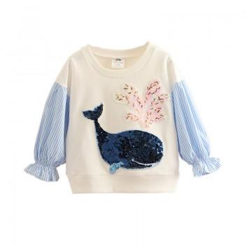 Sequin Whale Front Long-sleeve Tee for Girls