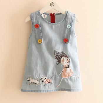 Little Girl Appliqued Blue Denim Sleeveless Dress for Toddler Girls