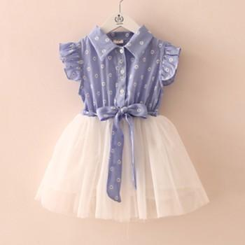 Waist Design Ruffled Sleeve Tulle Shirt Dress for Baby and Toddler Girls